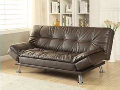 Dark Brown Futon Sofa Bed with Chrome Legs