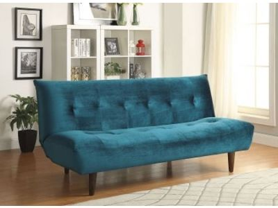 Transitional Teal Velvet Futon Sofa Bed
