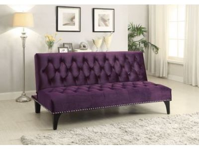 Transitional Purple Velvet Futon Sofa Bed