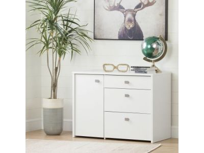 Interface Storage Unit with File Drawer Pure White