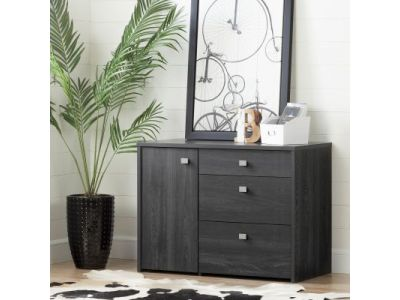 Interface Storage Unit with File Drawer Gray Oak
