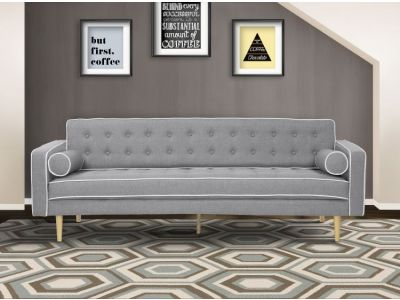 Kennedy Futon Sofa Bed in Gray Button Tufted Fabric