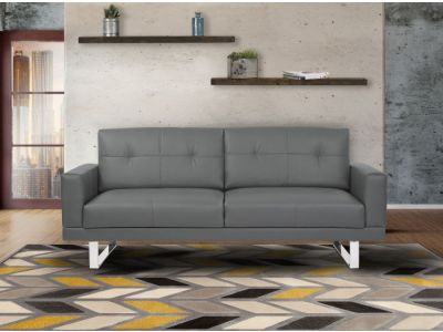 Lincoln Futon Sofa Bed in Gray Tufted Faux Leather