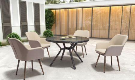 5 Piece Dining set in Beige & Brown - 001590_Kit