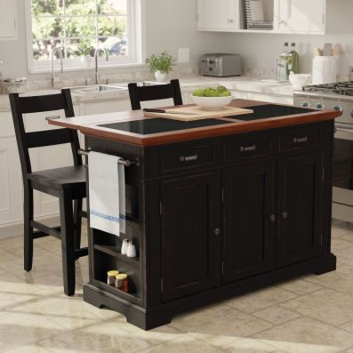 Farmhouse Basics Kitchen Island with Granite ain Black - BP-4203-943DLG8