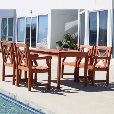 Malibu Wood 5-piece Outdoor Dining Set - V98SET48