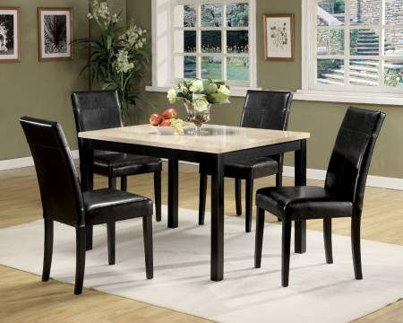 Portland 5 Piece Dining Set In White Faux Marble Black
