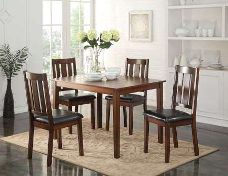 Flihvine 5 Piece Stoneberry Dining Set in Black PU & Walnut - 72505