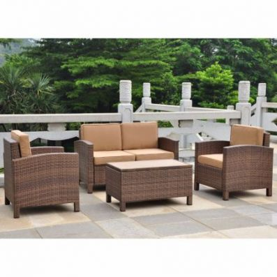 Barcelona Set of 4 Settee Group w/Cushions in Antique Brown - 4250-S4-ABN-CF