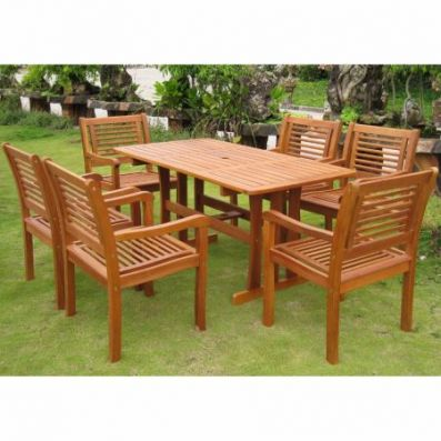 Royal Tahiti Baza Set of Seven Dining Group in Stain - RE-07-1B-51-6CH
