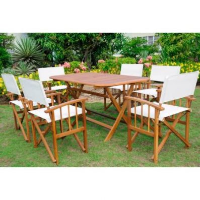 Cariati Acacia Wood 7 Piece Patio Group in Stain - RE-54-FA-80A-6CH-STN