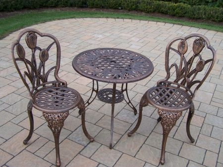 Tulip Cast Aluminum 3 Piece Bistro Set in Antique Bronze - 1005-AB