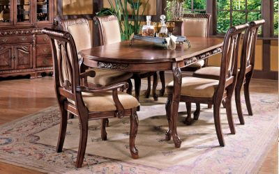 Harmony Harpback 7-Piece Formal Dining Set in Rich Cherry - 000393_Kit