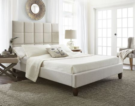 Alba Queen Bed with Mattress in Taupe - 001705_Kit