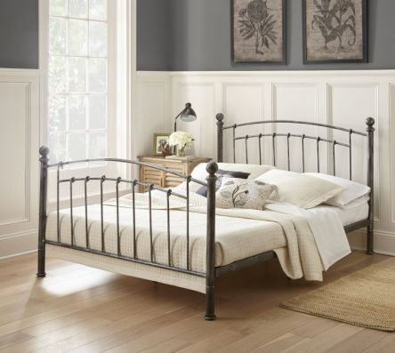Calixta Queen Bed with Mattress in Antique Black - 001698_Kit