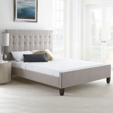 Clara Tweed Queen Bed with Mattress in Grey - 001707_Kit