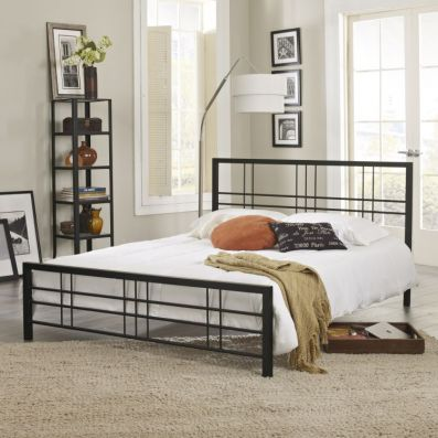Jacques Queen Bed with Mattress in Black - 001695_Kit