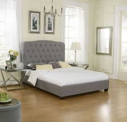 Preslie Queen Bed with Mattress in Grey - 001704_Kit
