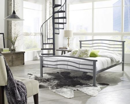 Sonora Queen Bed with Mattress in Silver - 001691_Kit