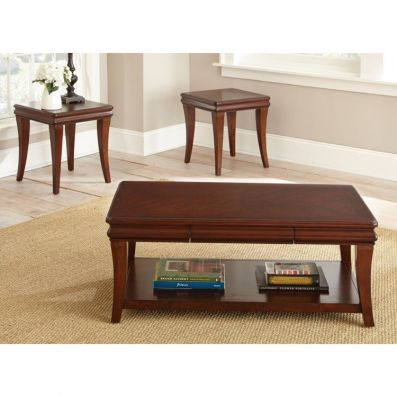 Aubrey 3 Piece Coffee Table Set in Cherry - AU1000